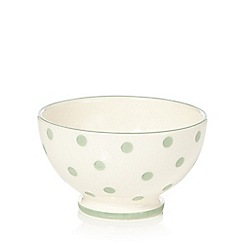 At home with Ashley Thomas - Light green spotted earthenware cereal bowl