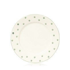 At home with Ashley Thomas - Light green spotted earthenware dessert plate