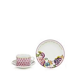 At home with Ashley Thomas - Pink three piece tea set