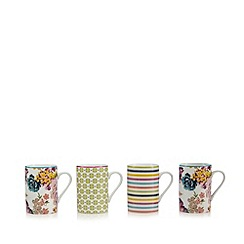 At home with Ashley Thomas - Pack of 4 white floral print and striped mugs