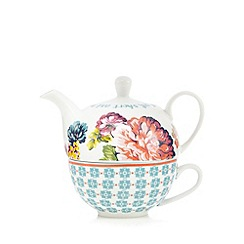 At home with Ashley Thomas - White floral print teapot and mug set