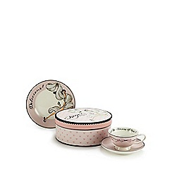 Debenhams - Pink heart teacup and saucer gift box