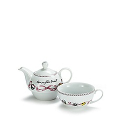 Debenhams - Pink porcelain 'Time for Tea' teapot and cup set