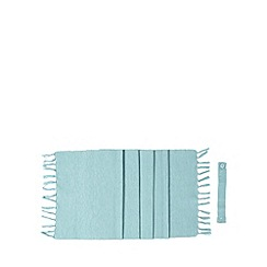 Home Collection Basics - Blue ribbed tassel table runner