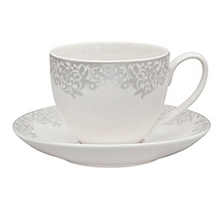 Denby - 'Filigree' silver tea saucer