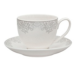 Denby - 'Filigree' silver tea saucer