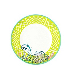 Butterfly Home by Matthew Williamson - Melamine lime painted floral and zig zag plate