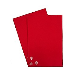 Debenhams - Set of two red snowflake napkins