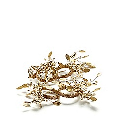 Debenhams - Gold leaf beaded napkin rings