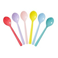 Rice - Set of 6 assorted colour short melamine spoons