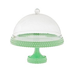 Rice - Cake plate with dome in pastel green