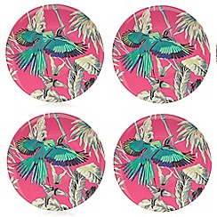 Butterfly Home by Matthew Williamson - Set of four pink floral print dinner plates