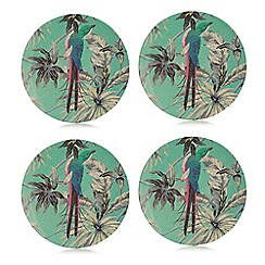 Butterfly Home by Matthew Williamson - Set of four green floral print dessert plates