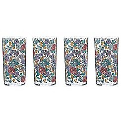 At home with Ashley Thomas - Set of four turquoise floral print hi-ball glasses