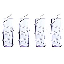 At home with Ashley Thomas - Set of four purple hi-ball glasses with a curly straw