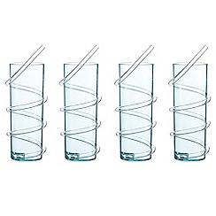 At home with Ashley Thomas - Set of four blue hi-ball glasses with a curly straw