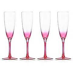 Butterfly Home by Matthew Williamson - Set of four pink 'Eden' acrylic flutes