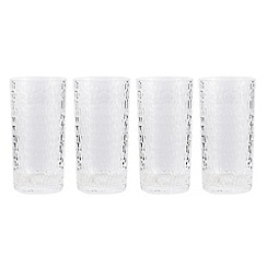 Debenhams - Set of four hammered hi-ball glass