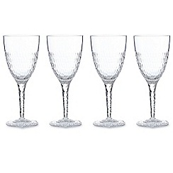 Debenhams - Set of four hammered wine glasses