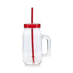 Ben de Lisi Home - Red acrylic mason jar and straw