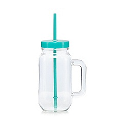 Ben de Lisi Home - Blue acrylic mason jar and straw