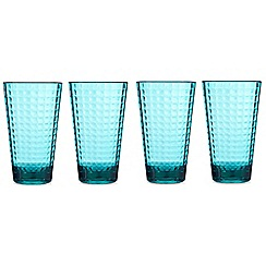 Ben de Lisi Home - Turquoise textured square hi-ball glass