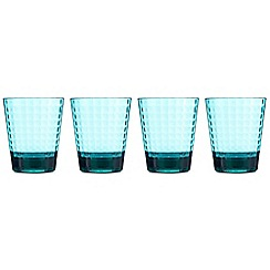Ben de Lisi Home - Set of four turquoise textured square tumblers