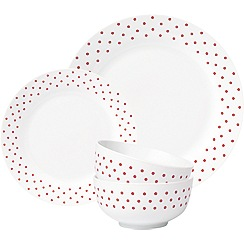 Sabichi - Sabichi red mono spots 12 piece dinner set