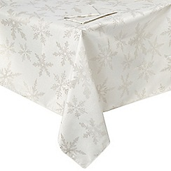 Debenhams - Silver snowflakes medium tablecloth and napkins set