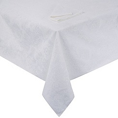 Debenhams - White large floral table cloth