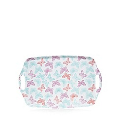 Debenhams - White butterfly print tray