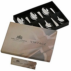 Arthur Price - Vintage stainless steel box of 6 English tea spoons