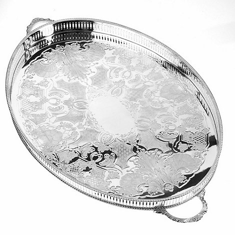Arthur Price - 18inch Oval Mounted Gallery Tray With Handles