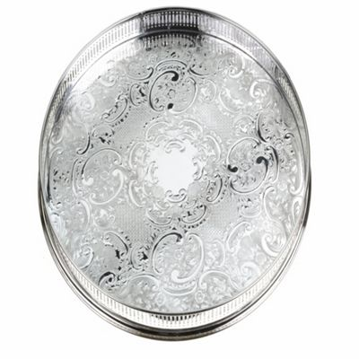 Arthur Price 14inch Round Embossed Gallery Tray - . -
