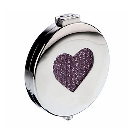 Arthur Price - Pink Heart Diamante Compact Mirror