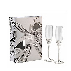 Arthur Price - Present Day 'Hearts' pair of silver plated champagne flutes, wine goblets, wine glasses