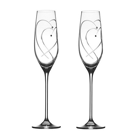 Royal Doulton - Set of two +Promises Two Hearts Entwined+ Crystalline champagne flutes