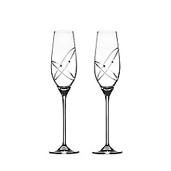Royal Doulton - Set of 2 crystalline 'With this ring' champagne flutes