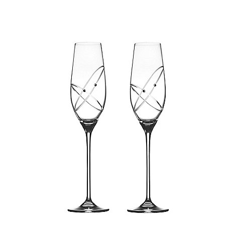 Royal Doulton - Pair of +With this ring+ crystalline champagne flutes