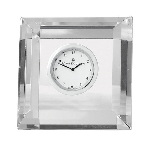 Royal Doulton - Silver 24% lead crystal +Radiance+ square mantel clock