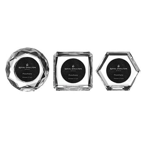 Royal Doulton - Set of three 24% lead crystal +Radiance+ mini photo frames
