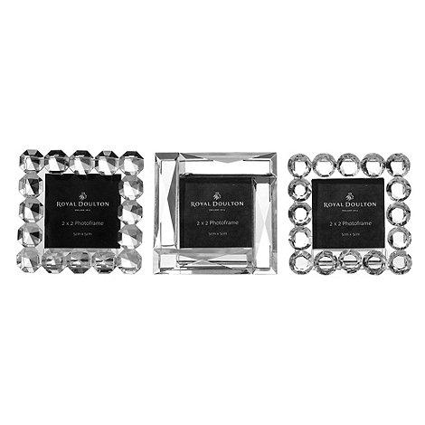 Royal Doulton - Set of three 24% lead crystal +Radiance+ fancy mini photo frames
