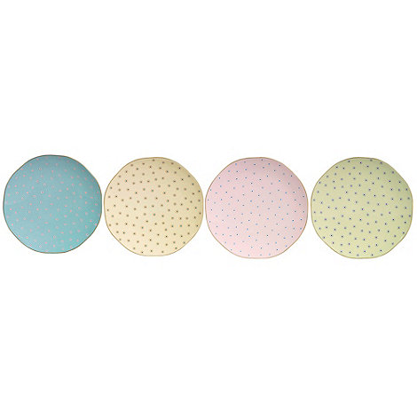 Wedgwood - Set of four polka dot 'Harlequin' teaplates