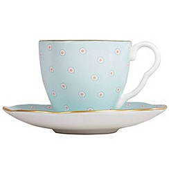 Wedgwood - Turquoise polka dot 'Harelquin' coffee cup and saucer