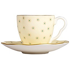 Wedgwood - Yellow polka dot 'Harlequin' coffee cup and saucer