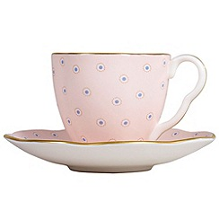 Wedgwood - Pink polka dot 'Harlequin' coffee cup and saucer
