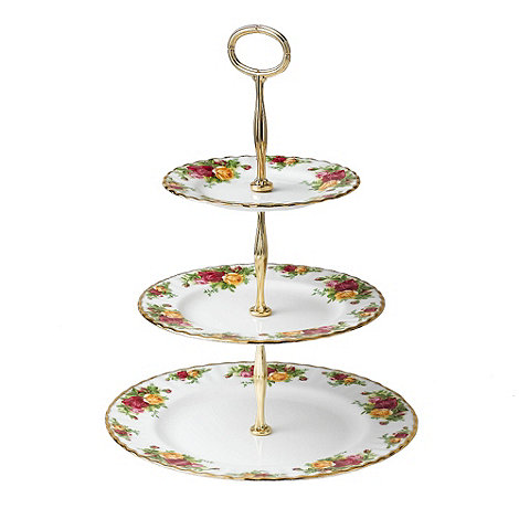 Royal Albert - Red +Old Country Rose+ three tier cake stand