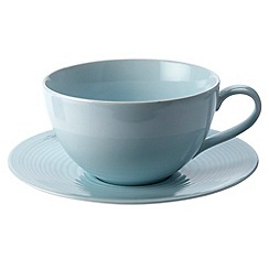 Gordon Ramsay By Royal Doulton - Blue 'Maze' tea cup and saucer set