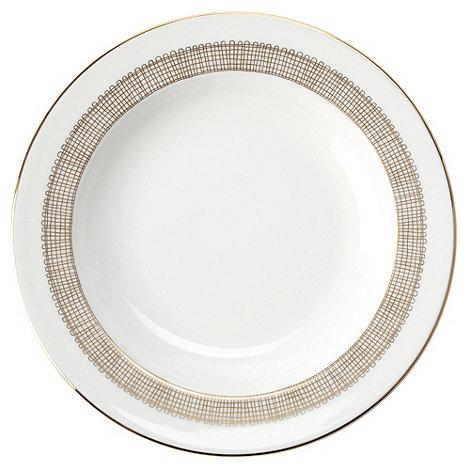 Vera Wang Wedgwood - White +Gilded Weave+ rimmed soup platter