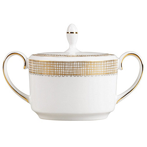 Vera Wang Wedgwood - White +Gilded Weave+ lidded sugar bowl